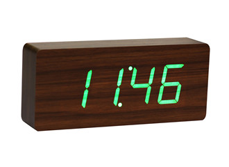 Slab Walnut Click Clock / Green LED