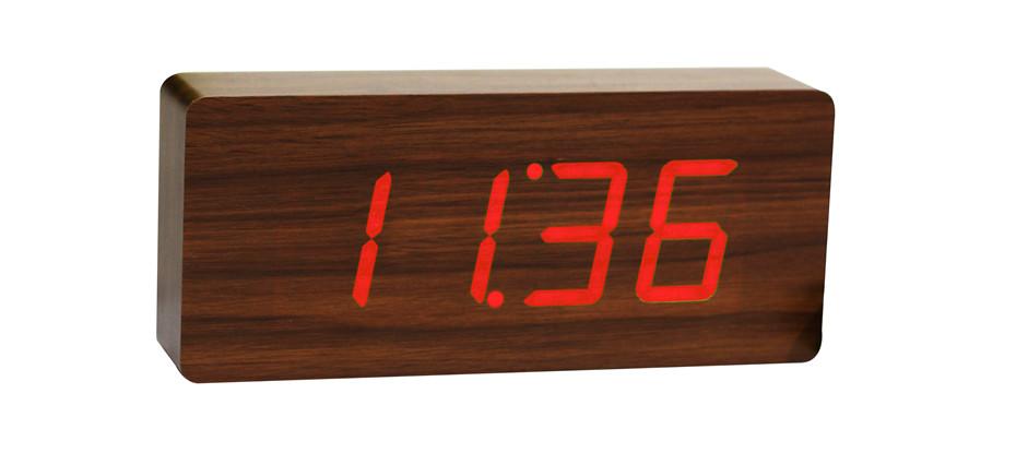 Slab Teak Click Clock / Red LED by Gingko