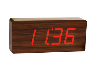 Slab Teak Click Clock / Red LED