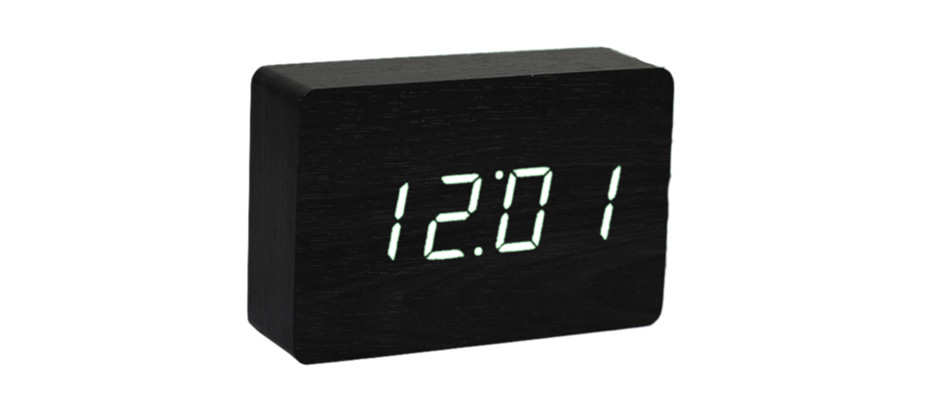 Brick Black Click Clock / White LED by Gingko