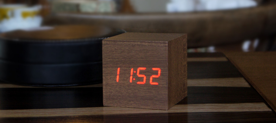 Cube Teak Click Clock / Red LED by Gingko