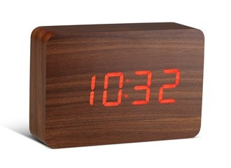 Brick Walnut Click Clock / Red LED