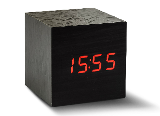 Maxi Cube Black Click Clock - Red LED