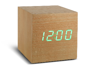 Maxi Cube Beech Click Clock - Green LED
