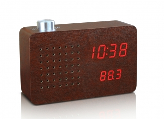 Leatherette Radio Click Clock